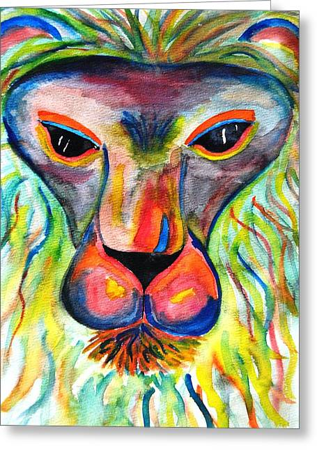 Watercolor Lion Greeting Card