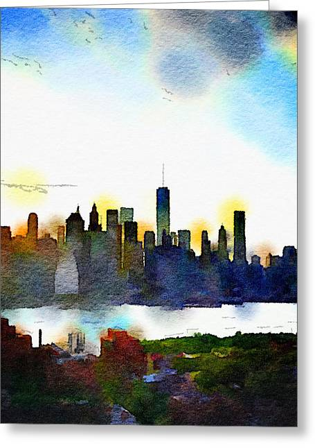 Watercolor Manhattan Greeting Card by Natasha Marco