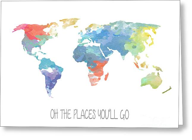 Watercolor Map Greeting Card by Jennifer Mecca