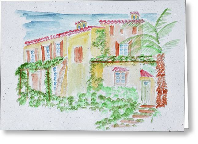 Watercolor Of A Typical French Home Greeting Card