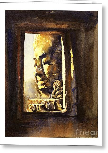 Watercolor Of Cambodian Temple Greeting Card by Ryan Fox