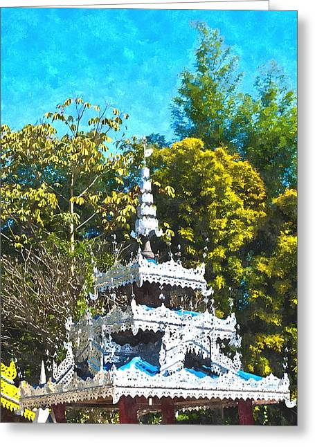 Watercolor Of Roof Decoration In Tai Yai Style In Pai In Mae Hong Son In Thailand Greeting Card by Ammar Mas-oo-di