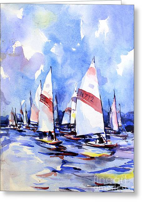 Watercolor Of Scow Boats Racing Torch Lake Mi Greeting Card
