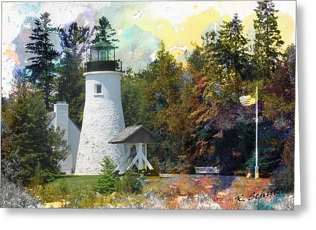 Watercolor Old Presque Lighthouse Greeting Card
