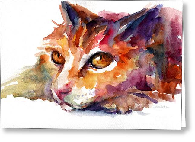 Watercolor Orange Tubby Cat Greeting Card by Svetlana Novikova