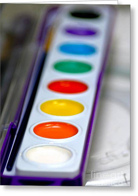 Watercolor Paint Set Greeting Card by Amy Cicconi