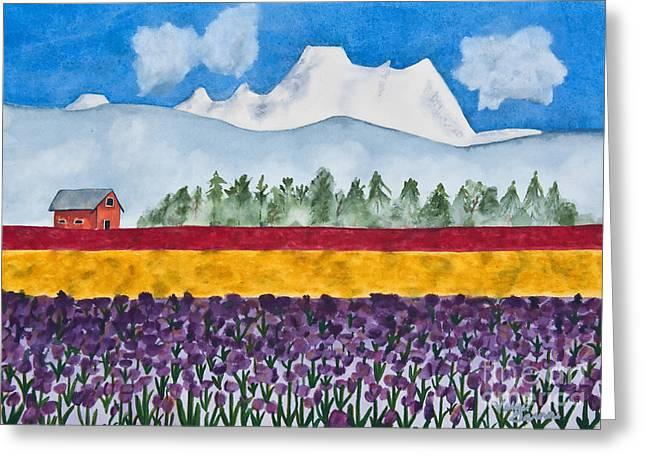 Watercolor Painting Landscape Of Skagit Valley Tulip Fields Art Greeting Card by Valerie Garner