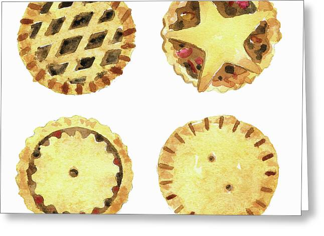 Watercolor Painting Of Mince Pies Greeting Card