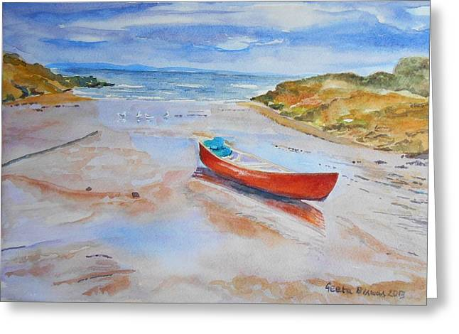 Watercolor Painting Of Red Boat Greeting Card by Geeta Biswas