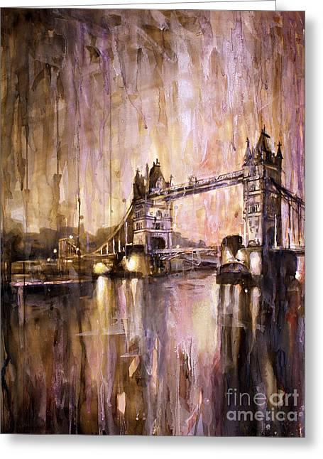 Watercolor Painting Of Tower Bridge London England Greeting Card by Ryan Fox