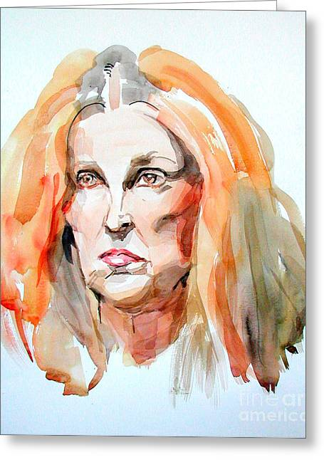 Greeting Card featuring the painting Watercolor Portrait Of A Mad Redhead by Greta Corens