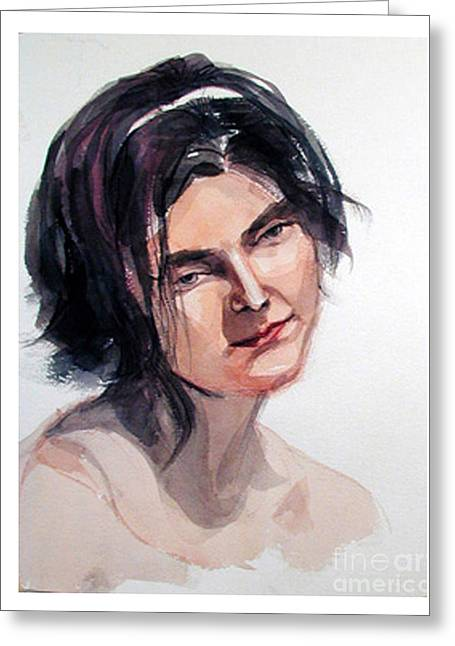 Watercolor Portrait Of A Young Pensive Woman With Headband Greeting Card by Greta Corens
