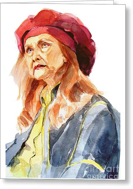 Watercolor Portrait Of An Old Lady Greeting Card
