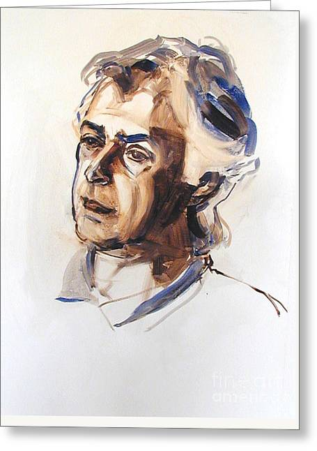 Watercolor Portrait Sketch Of A Man In Monochrome Greeting Card
