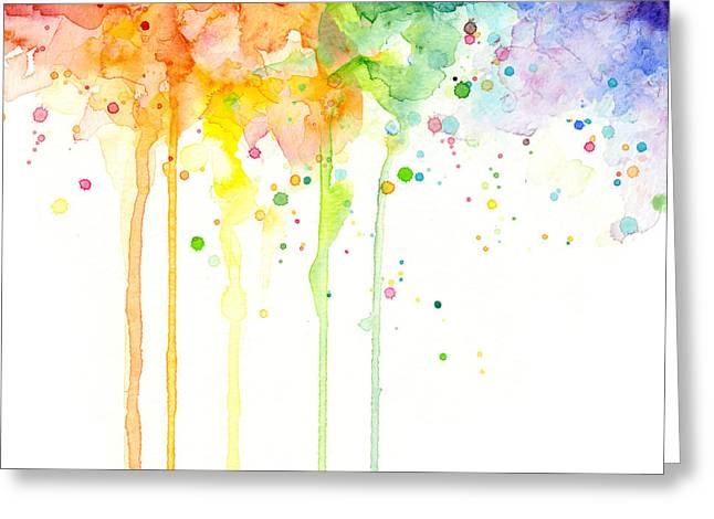 Watercolor Rainbow Greeting Card by Olga Shvartsur