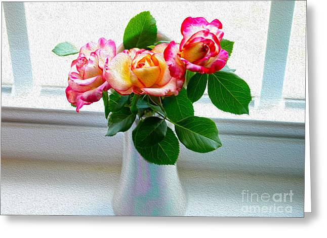 Watercolor Roses Greeting Card by Candy Frangella