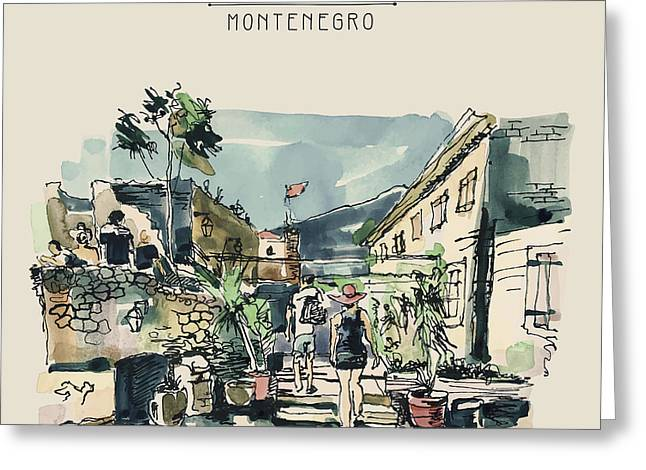 Watercolor Sketching Of Budva Greeting Card