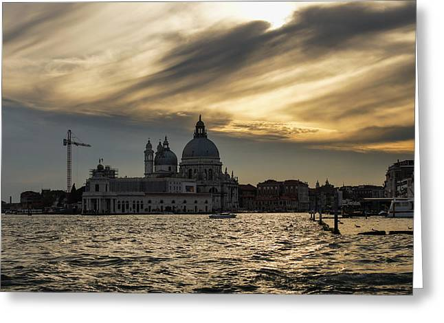 Greeting Card featuring the photograph Watercolor Sky Over Venice Italy by Georgia Mizuleva