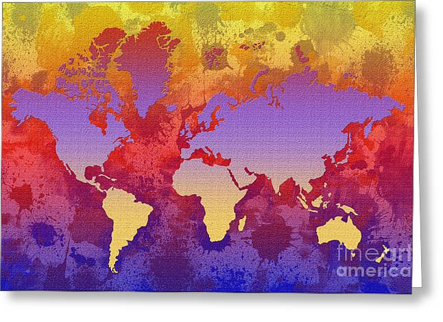 Watercolor Splashes World Map On Canvas Greeting Card by Zaira Dzhaubaeva