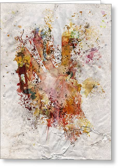 Human Body Hand Watercolor Paint Old Paper Greeting Card by Andy Gimino