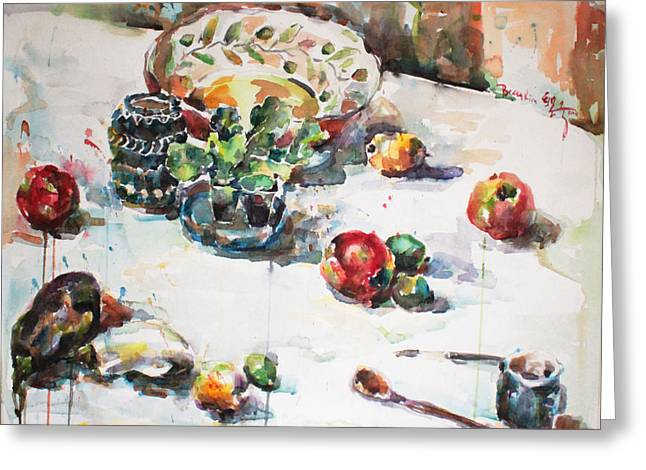 Watercolor Still Life In April Greeting Card by Becky Kim