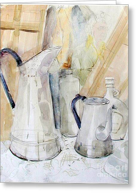 Watercolor Still Life Of White Cans Greeting Card