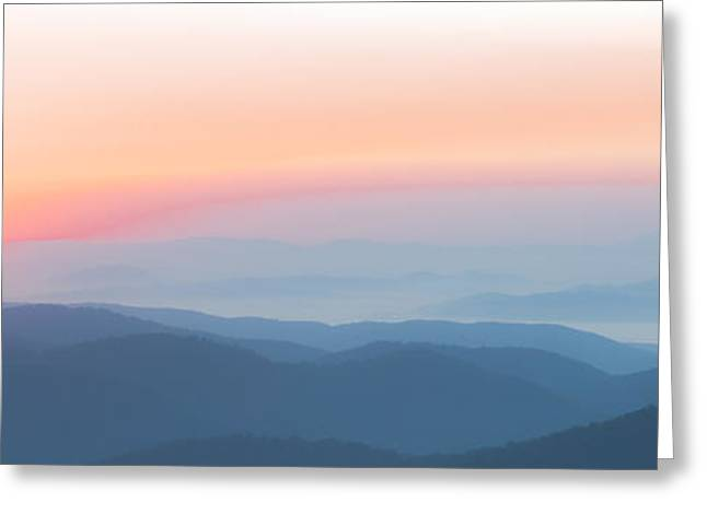Watercolor Sunrise In The Blue Ridge Mountains Greeting Card