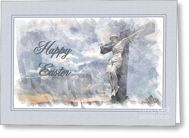 Watercolor Sunset Easter Cross Greeting Card by JH Designs