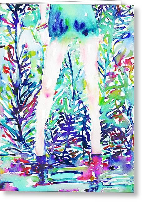Watercolor Woman.48 Greeting Card by Fabrizio Cassetta