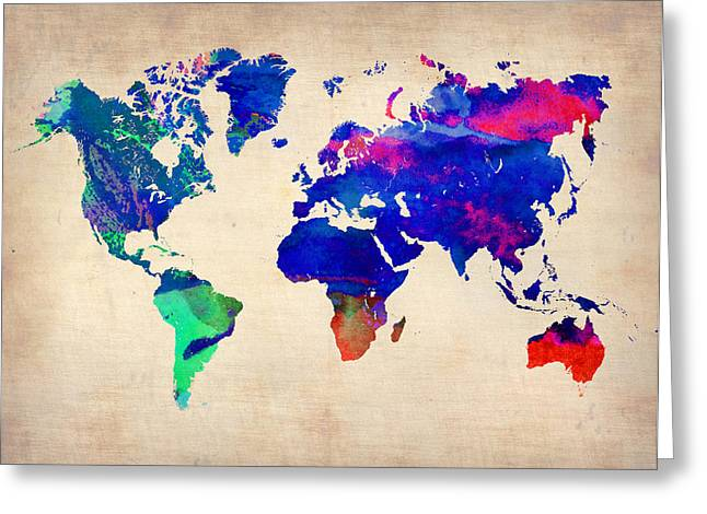 Watercolor World Map 4 Greeting Card