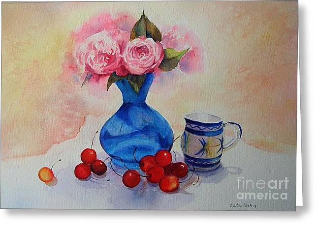 Watercolour Roses And Cherries Greeting Card by Beatrice Cloake