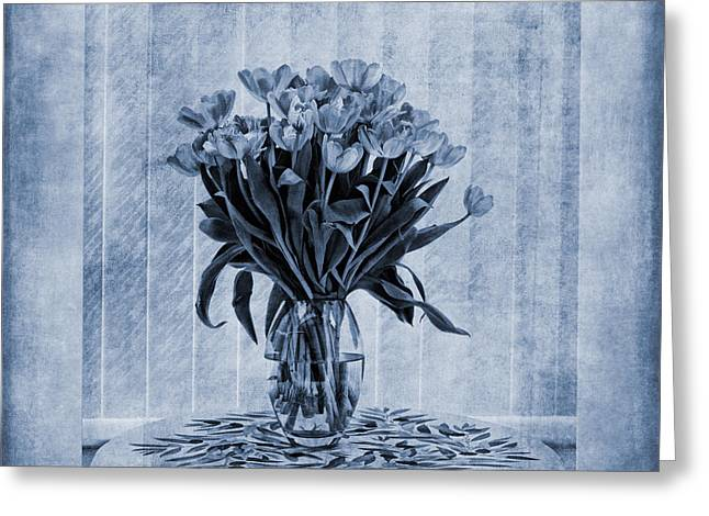 Watercolour Tulips In Blue Greeting Card by John Edwards