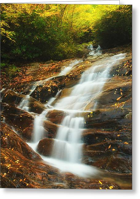 Waterfall @ Sams Branch Greeting Card by Photography  By Sai
