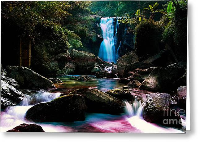 Waterfall And Light Greeting Card