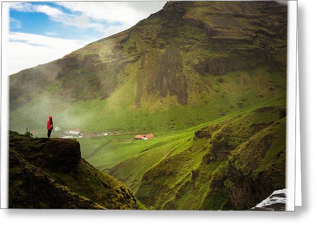 Waterfall And Mountain In Iceland Greeting Card