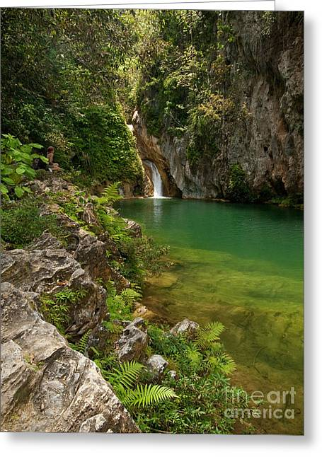 Waterfall And Pool Paradise - Cuba Greeting Card by OUAP Photography