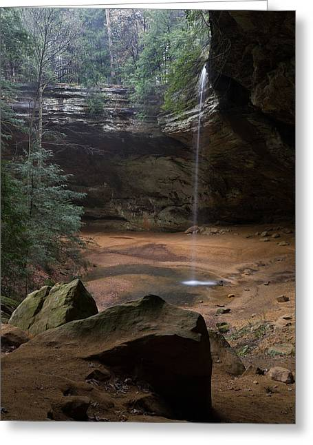 Waterfall At Ash Cave Greeting Card