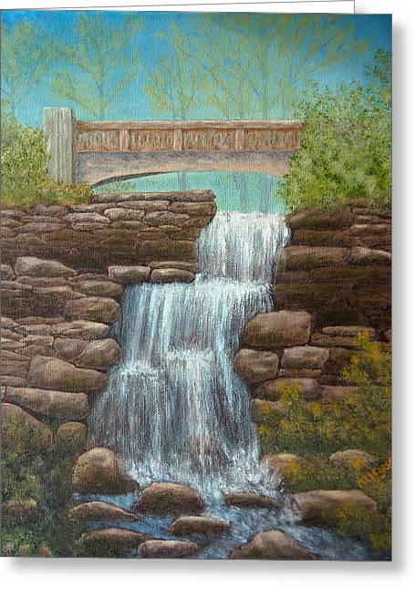 Waterfall At East Hampton Greeting Card by Pamela Allegretto