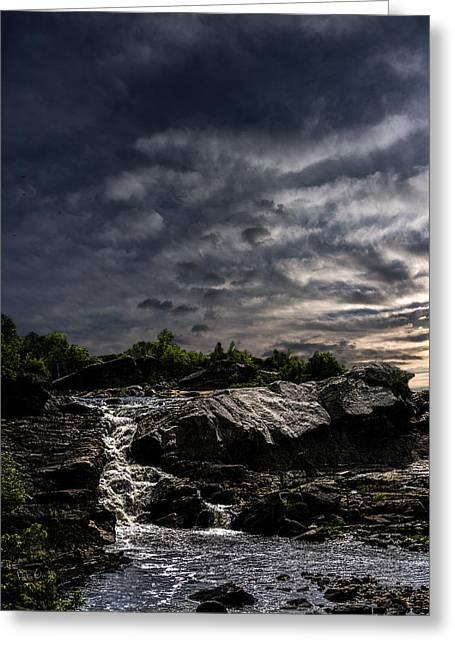Waterfall At Sunrise Greeting Card by Bob Orsillo
