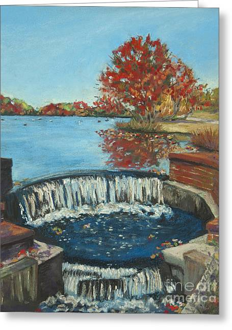 Greeting Card featuring the painting Waterfall Brookwood Hall by Susan Herbst