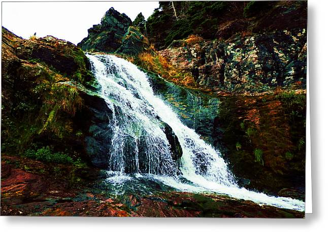 Waterfall By Stiles Cove Path Greeting Card