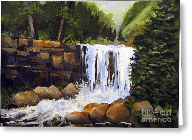 Greeting Card featuring the painting Waterfall by Carol Hart