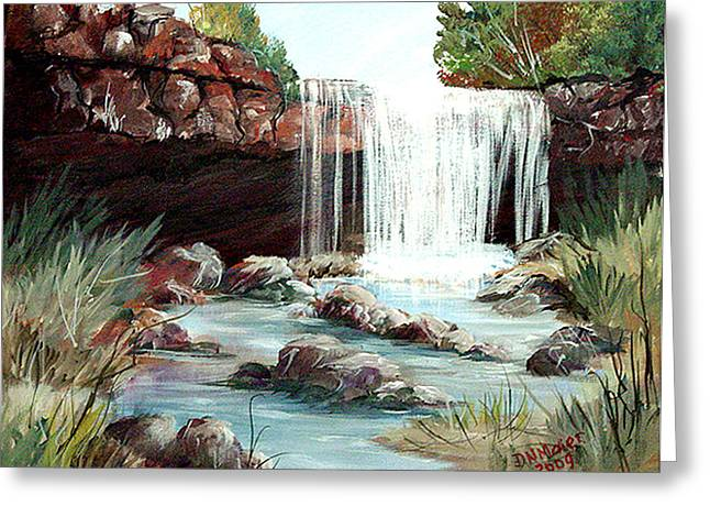 Greeting Card featuring the painting Waterfall by Dorothy Maier