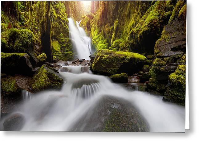 Waterfall Glow Greeting Card