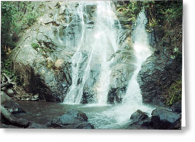 Waterfall In A Forest, Chiang Mai Greeting Card