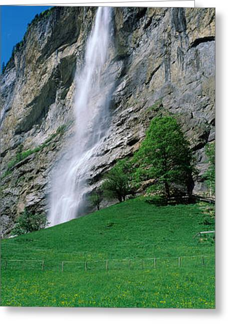 Waterfall In A Forest, Murrenbach Greeting Card by Panoramic Images