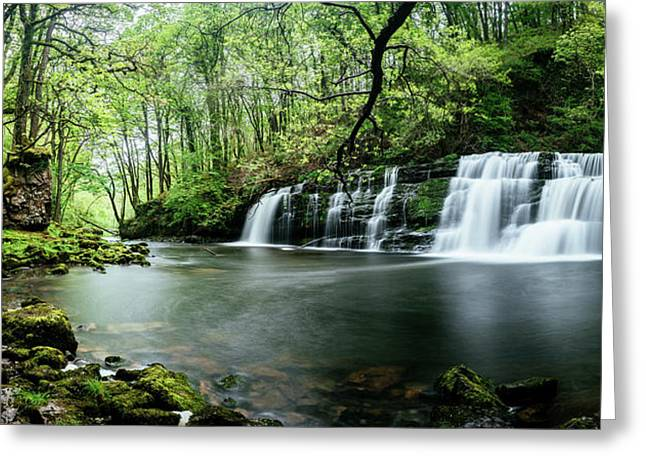 Waterfall In A Forest, Sgwd Y Pannwr Greeting Card by Panoramic Images