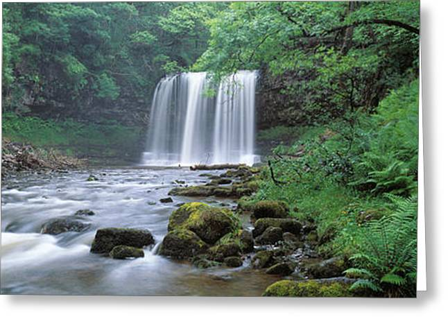 Waterfall In A Forest, Sgwd Yr Eira Greeting Card by Panoramic Images