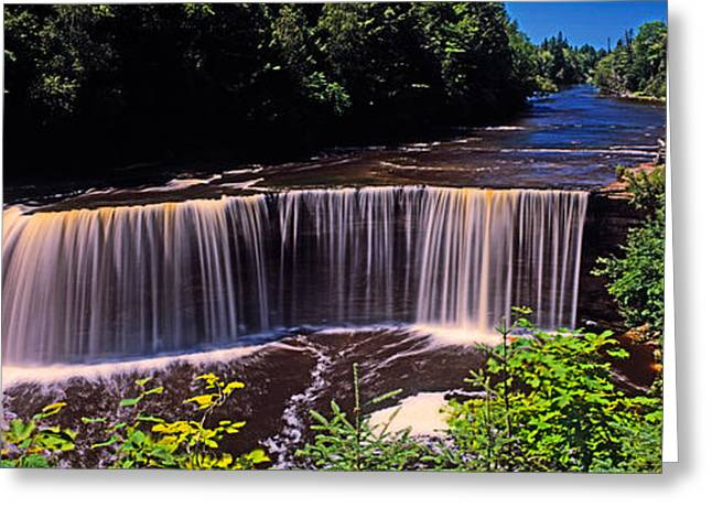 Waterfall In A Forest, Tahquamenon Greeting Card by Panoramic Images
