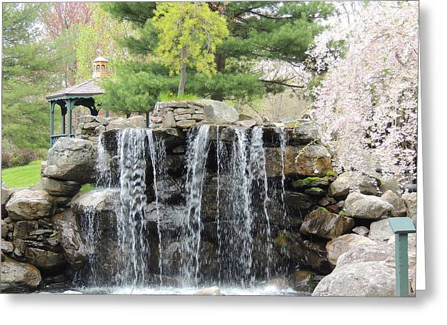 Waterfall In A Park Greeting Card